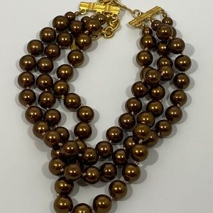 CAROLEE Faux Brown Pearl Triple Strand Necklace